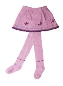 YO ! Bavlněné punčocháčky se sukničkou - lila  s kytičkami