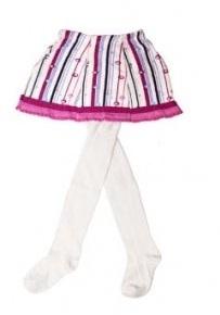 YO ! Bavlněné punčocháčky se sukničkou - bílé/růžové s proužky