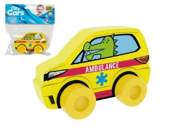 Moje první auto Ambulance krokodýl žluté pěna 10cm na kartě 0+