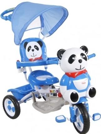 Tříkolka s vodící tyčí Panda - modrá (barva: modrá, 0514)
