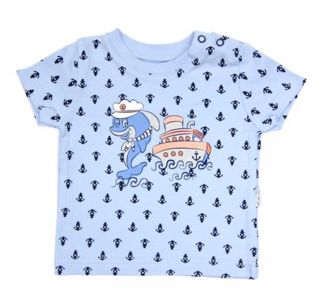 Tričko krátký rukáv Mamatti - Delfín kotvička, Velikost: 74 (6-9m)