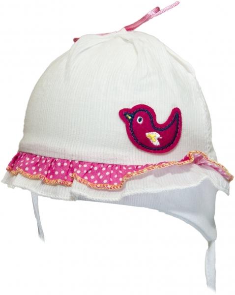 YO ! Bavlněná letní čepička YO! - Ptáček - bílá/ růžová