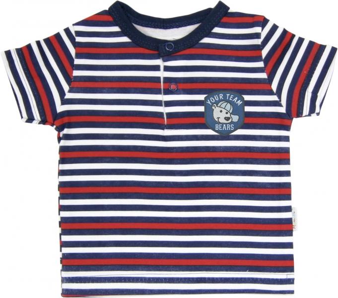 Polo tričko krátký rukáv Mamatti - Panda proužek, Velikost: 74 (6-9m)