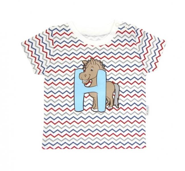 Tričko krátký rukáv Mamatti - Zvířátka zigzag, Velikost: 80 (9-12m)