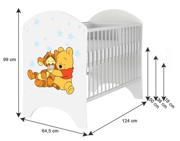 BabyBoo Dětská postýlka Disney Medvídek PÚ a Tygřík 120x60cm, D19