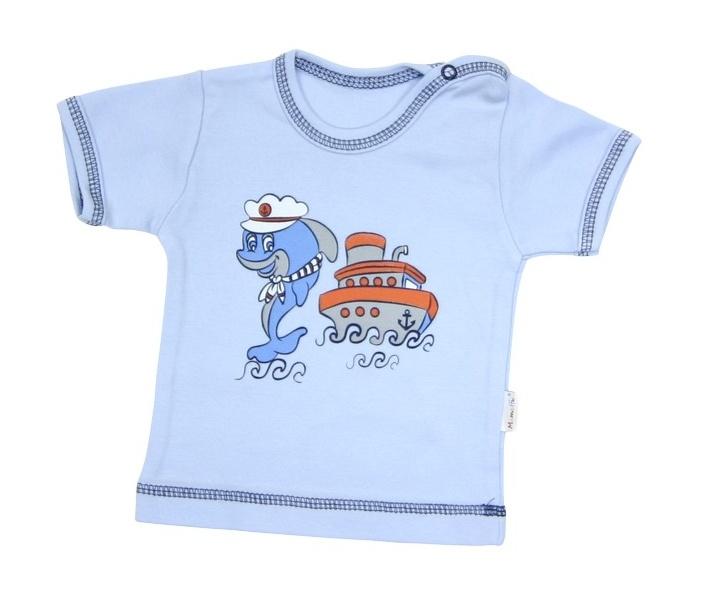 Tričko/košilka krátký rukáv Mamatti - Delfín, Velikost: 74 (6-9m)