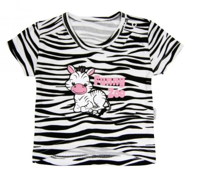 Tričko krátký rukáv Mamatti - Zebra v ZOO, Velikost: 80 (9-12m)