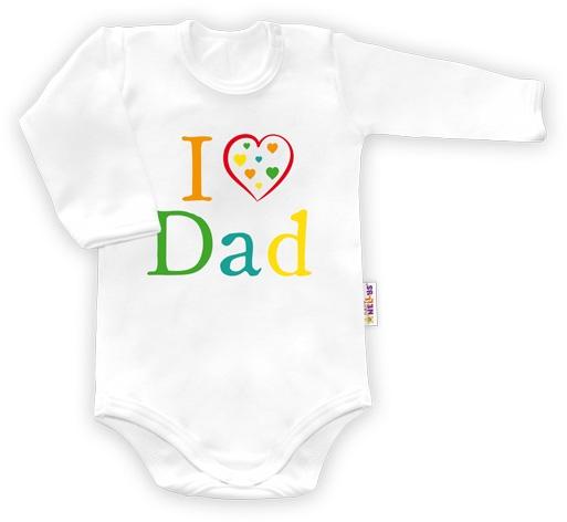Baby Nellys Body dlouhý rukáv vel.80, I love Dad - bílé