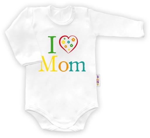 Baby Nellys Body dlouhý rukáv vel.74, I love Mom