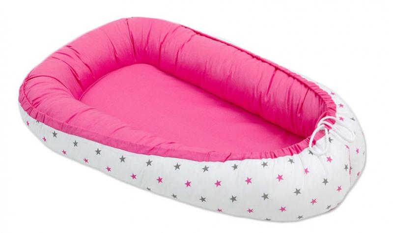 Oboustranné hnízdečko - kokon pro miminko -Tmavě růžové / hvězdičky šedé a růžové