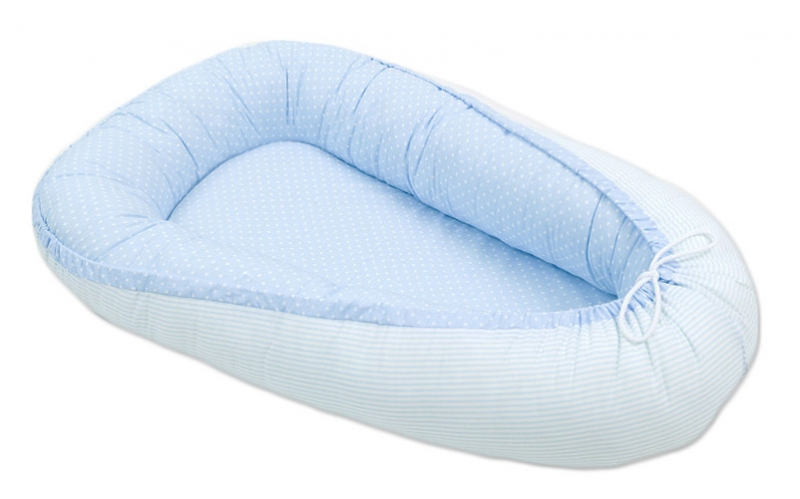 Oboustranné hnízdečko - kokon pro miminko -Tečky bledě modré / proužky bledě modré