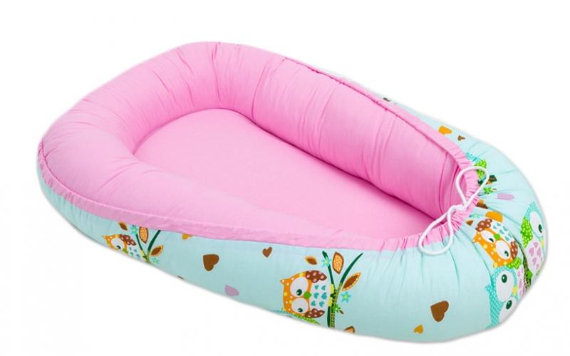 Oboustranné hnízdečko - kokon pro miminko - Růžové / sovičky mátové