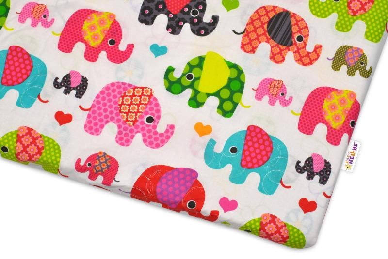 Bavlněné prostěradlo  Baby Nellys ® Sloník HAPPY - bílé/sloni růžoví