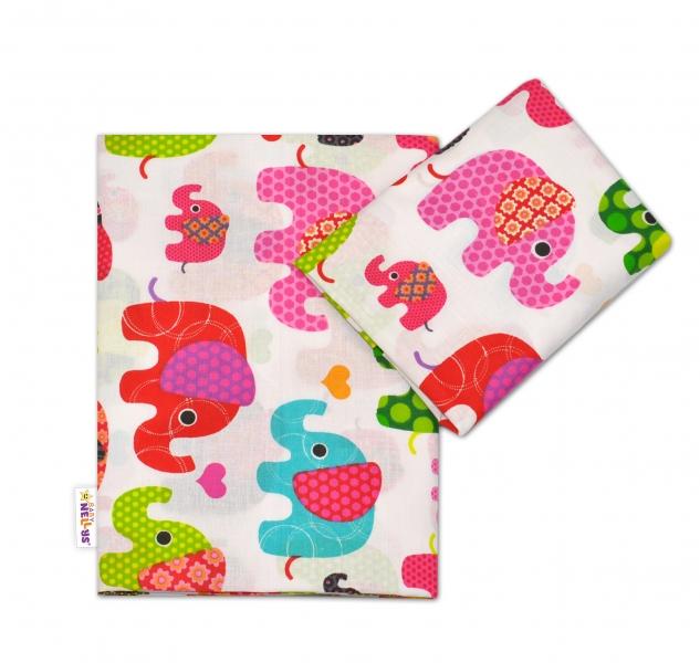 Bavlněné povlečení Baby Nellys ® Sloník HAPPY - bílé/sloni růžoví