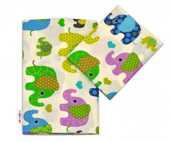 Bavlněné povlečení Baby Nellys ® Sloník HAPPY - smetanové/sloni zelení