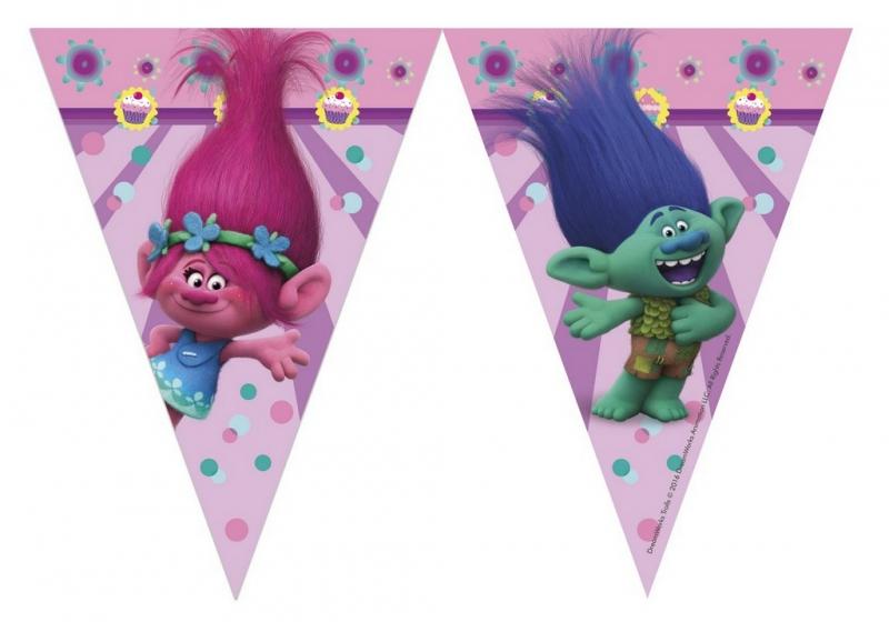 Girlanda vlajky Trollové - Trolls 9 ks