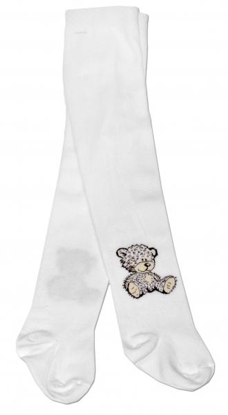 Bavlněné punčocháče Baby Nellys ® - Sweet Teddy - bílé, vel. 92/98