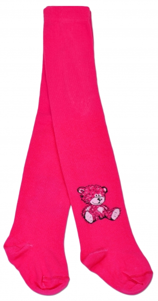 Bavlněné punčocháče Baby Nellys ® - Sweet Teddy - sytě růžové, vel. 104/110vel. 104/110
