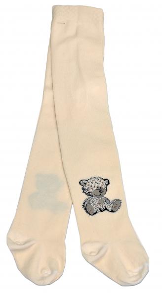 Bavlněné punčocháče Baby Nellys ® - Sweet Teddy - smetanové, vel. 104/110