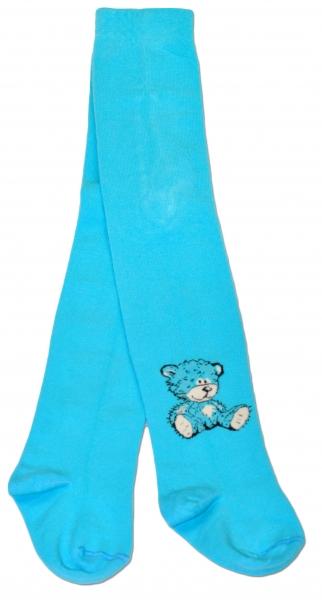 Bavlněné punčocháče Baby Nellys ® - Sweet Teddy - tyrkysové