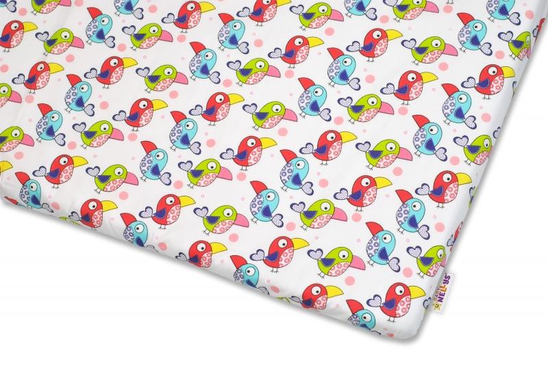 Bavlněné prostěradlo Baby Nellys - Papoušci