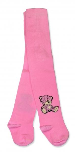 Bavlněné punčocháče Baby Nellys ® - Sweet Teddy - sv. růžové, vel. 92/98
