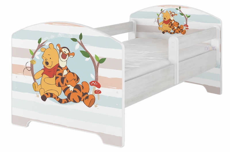 Dětská postel Disney, 160x80 + pěnová matrace zdarma - Medvídek PÚ proužek