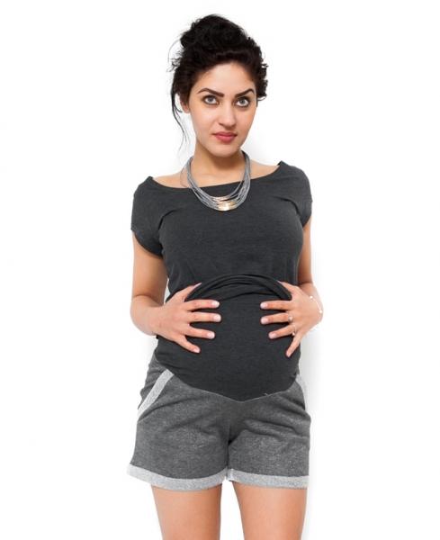 Těhotenské teplákové  kraťasy Nadia - šedá, Velikost: XL