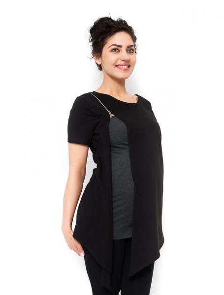 Těhotenská a kojící tunika Aida - černá, vel. XL, Velikost: XL