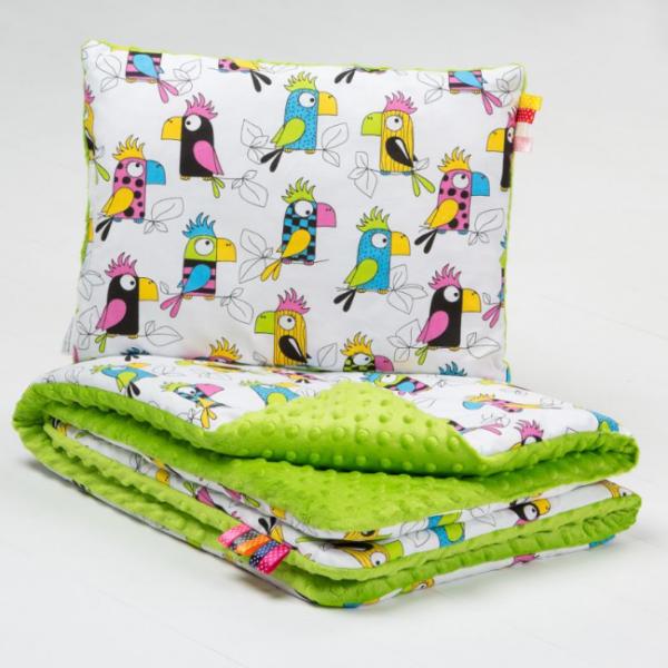 Sada do kočárku 2D - MINKY BABY - Papoušci/minky zelená (vzor: Papoušci - MINKY zelená, 75x100cm/40x30cm, 287725)
