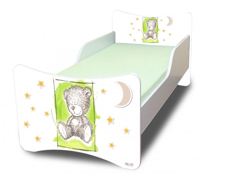 NELLYS Dětská postel se zábranou Sweet Teddy - zelený, 200x80 cm