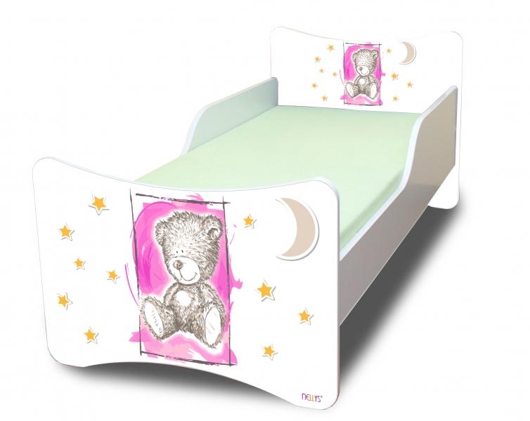 NELLYS Dětská postel se zábranou Sweet Teddy - růžový, 200x80 cm