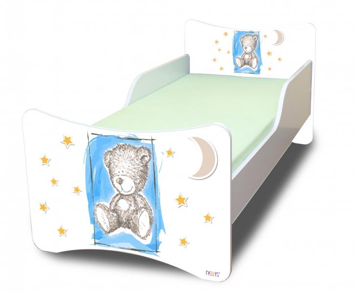 NELLYS Dětská postel se zábranou Sweet Teddy - modrý, 200x80 cm