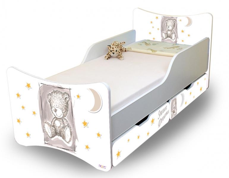 NELLYS Dětská postel Sweet Teddy se zábranou a s šuplíky - šedý, 180x90 cm