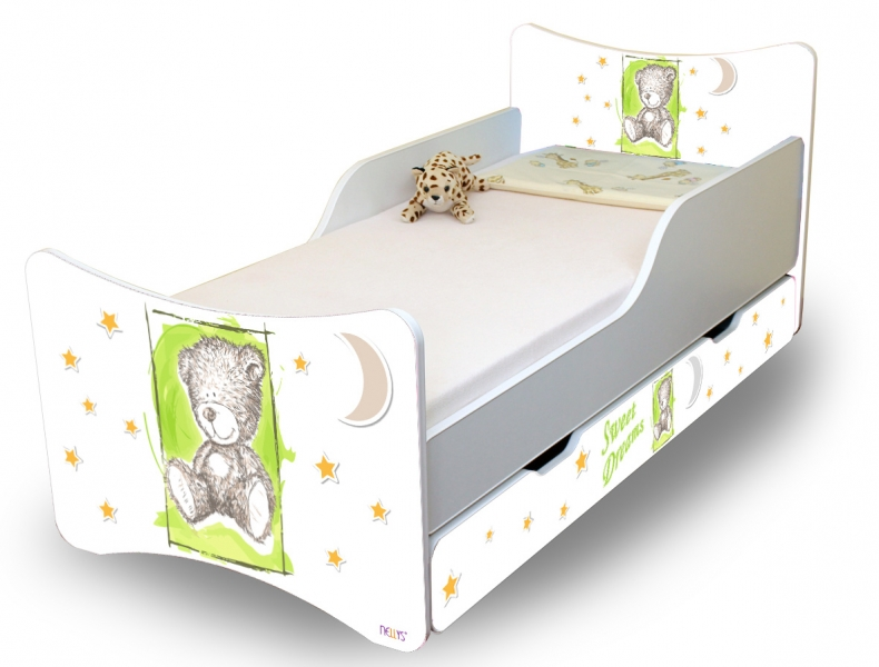 NELLYS Dětská postel Sweet Teddy se zábranou a s šuplíkem - zelený, 160x70 cm