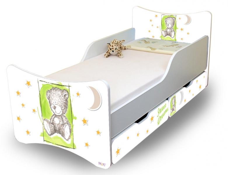 NELLYS Dětská postel Sweet Teddy se zábranou a s šuplíky- zelený, 200x90 cm