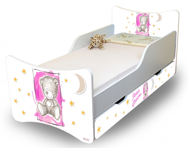 NELLYS Dětská postel Sweet Teddy se zábranou a s šuplíkem - růžový