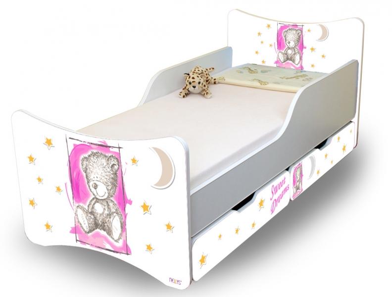 NELLYS Dětská postel Sweet Teddy se zábranou a s šuplíky- růžový, 180x90 cm
