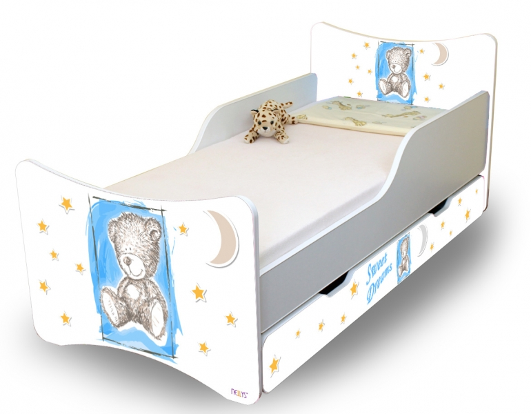 NELLYS Dětská postel Sweet Teddy se zábranou a s šuplíkem - modrý, 160x80 cm