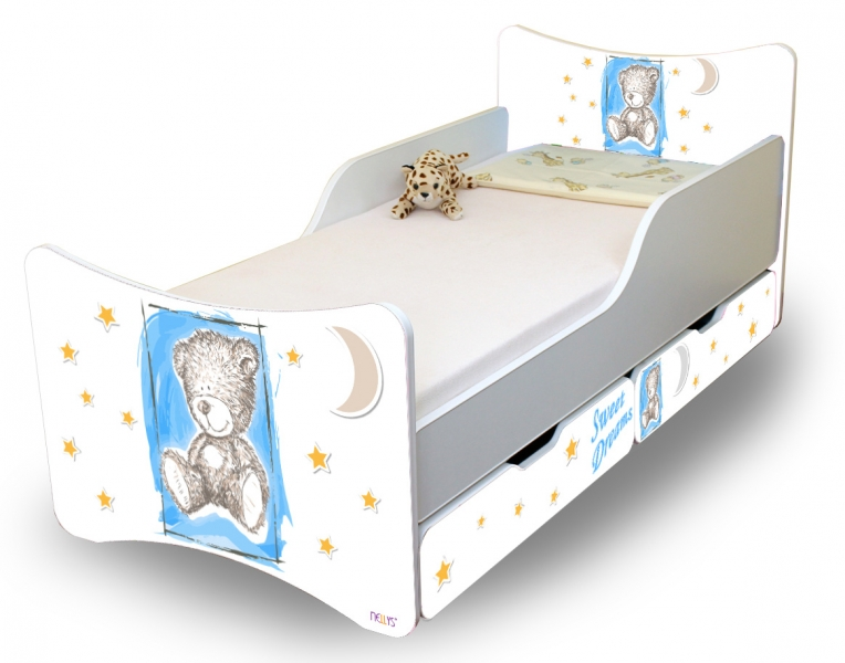 NELLYS Dětská postel Sweet Teddy se zábranou a s šuplíky - modrý, 180x90 cm
