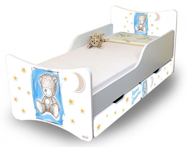 NELLYS Dětská postel Sweet Teddy se zábranou a s šuplíky - modrý, 200x90 cm
