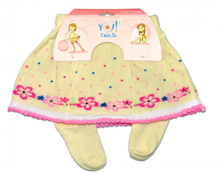 YO ! Bavlněné punčocháčky se sukničkou - smetanové  s kytičkami