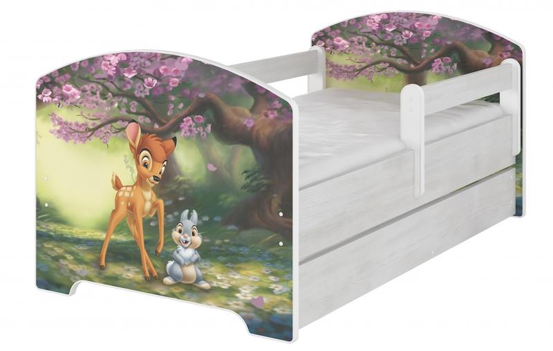 BabyBoo Dětská postel Disney s šuplíkem, 160x80 + pěnová matrace zdarma - BAMBI, D19