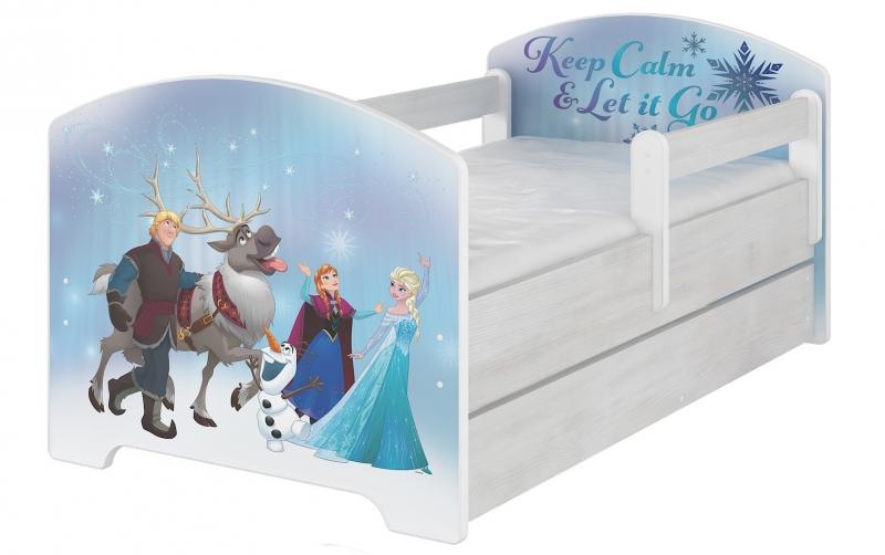 BabyBoo Dětská postel Disney s šuplíkem, 160x80 + pěnová matrace zdarma - Frozen, D19