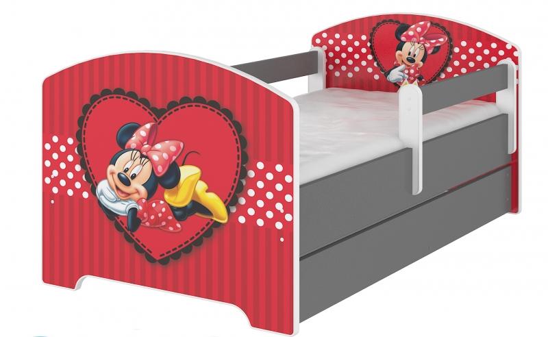 BabyBoo Dětská postel Disney s šuplíkem, 160x80cm + zábrany - Minnie Srdíčko, D19