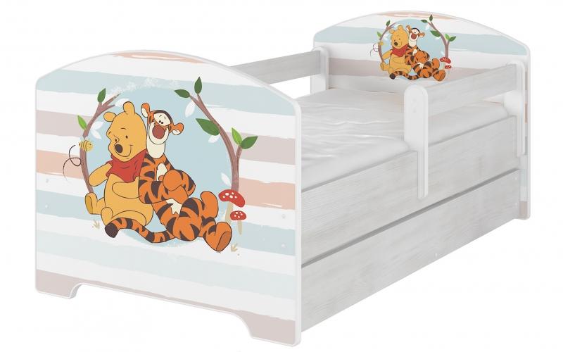 Dětská postel Disney s šuplíkem, 160x80 + pěnová matrace zdarma - Medvídek PÚ proužek, D19
