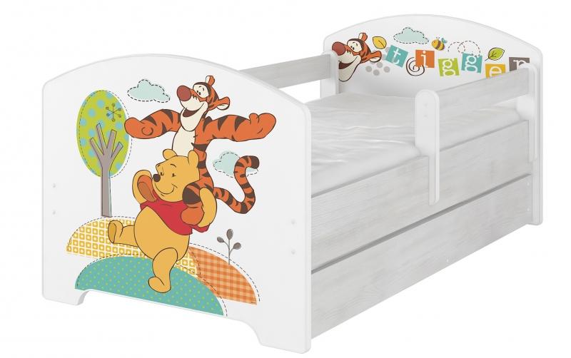 Dětská postel Disney s šuplíkem ,160x80 + pěnová matrace zdarma - Medvídek PÚ , D19