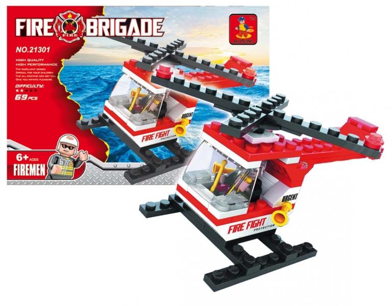 Stavebnice AUSINI hasiči - vrtulník, 69 dílů