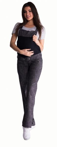Těhotenské kalhoty s láclem - černý melírek