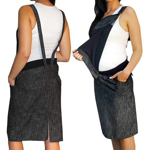 Be MaaMaa Těhotenské šaty/sukně s láclem - černý melírek